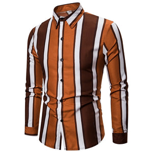 Mens Striped Slim Fit Dress Shirts