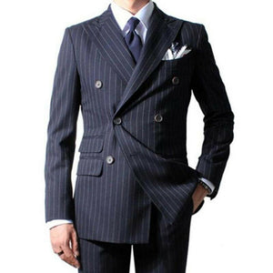 Men's Navy Blue Suit Striped Formal Business Wedding