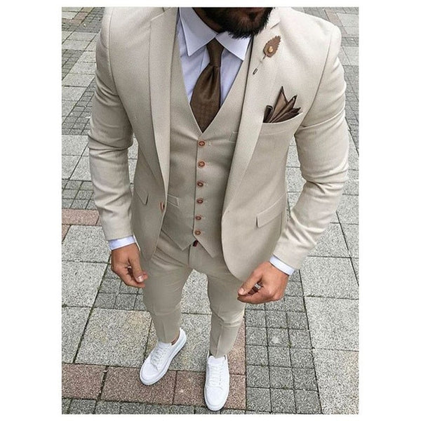 Casual Business Beige Mens Suits
