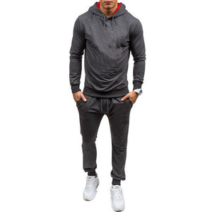 Tracksuits Men Polyester Sweatshirt Sporting Fleece 2020 Gyms Spring Jacket + Pants Casual Men's Track Suit Sportswear Fi