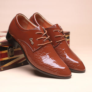 Mens Dress Shoes Fashion Pointed Toe Lace Up Men's Business Casual Shoes