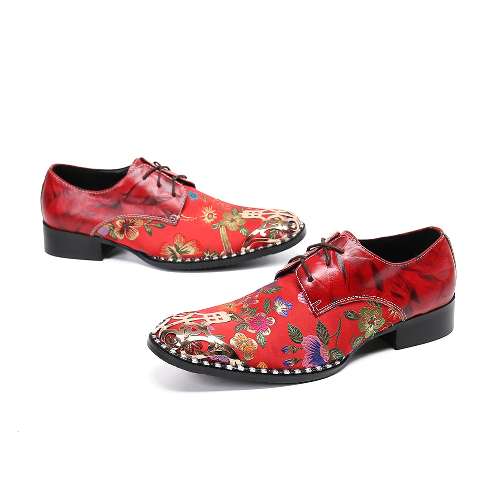 Christia Bella New Designer Floral Wedding Party Men Oxford Shoes