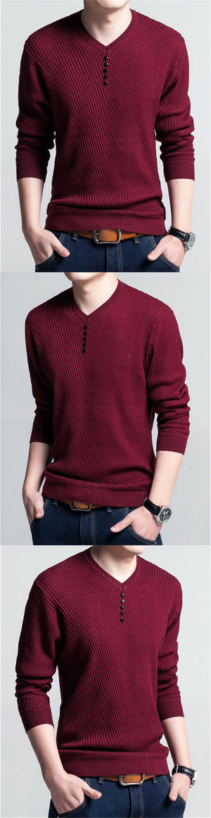 Sweater Men Casual V-Neck Pullover Shirt Autumn Winter Slim Fit Long Sleeve