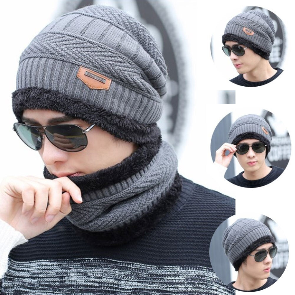 2Pcs/Set Winter Warm Knitted Beanie Hat