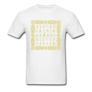 Serbian Cyrillic Logo Symbol T-Shirts Men New Coming Men's Fashion Plain Tshirt White Natural Cotton Clothing Street Style