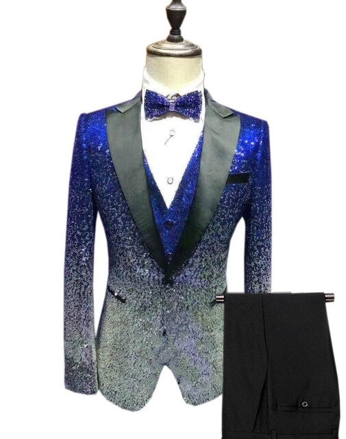 Mens Sequin Suit 3 Pieces Shiny Slim Fit Tuxedo