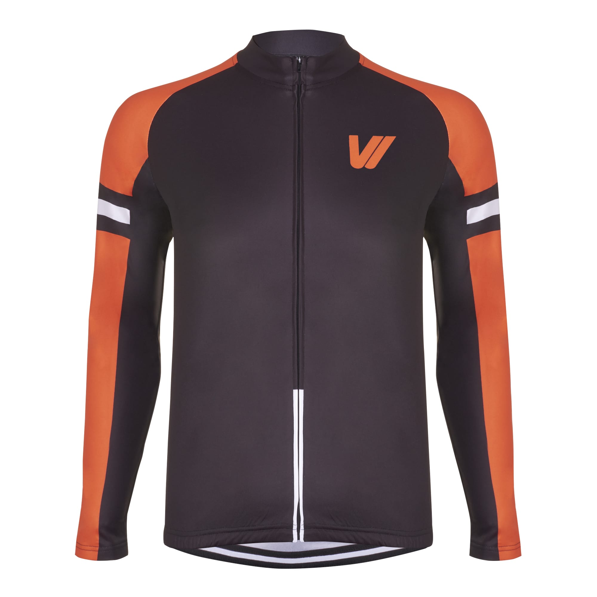 Men's Long Sleeve Cycling Jersey - Black & Orange