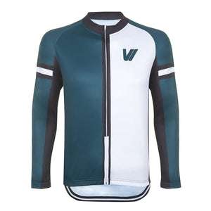 Men's Long Sleeve Half & Half Cycling Jersey - Green/White