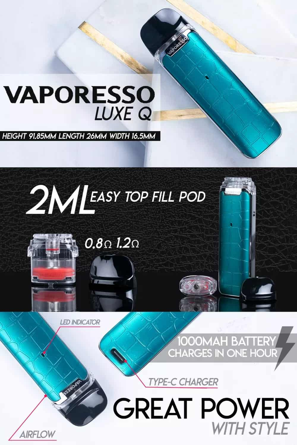 vaporesso luxe q pod system infographic