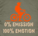 14ender Bike Design 0%Emission Druckdetails auf Grundfarbe earth green, oranger Biker. Shriftzug 0%emission/100%emotion