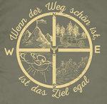 Detailansicht Compass Design auf earth green Shirt