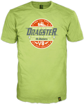 Dragster Frontprint in Cracked Optik auf poison green T-Shirt Frontansicht mit 14ender Brand Label am Saum