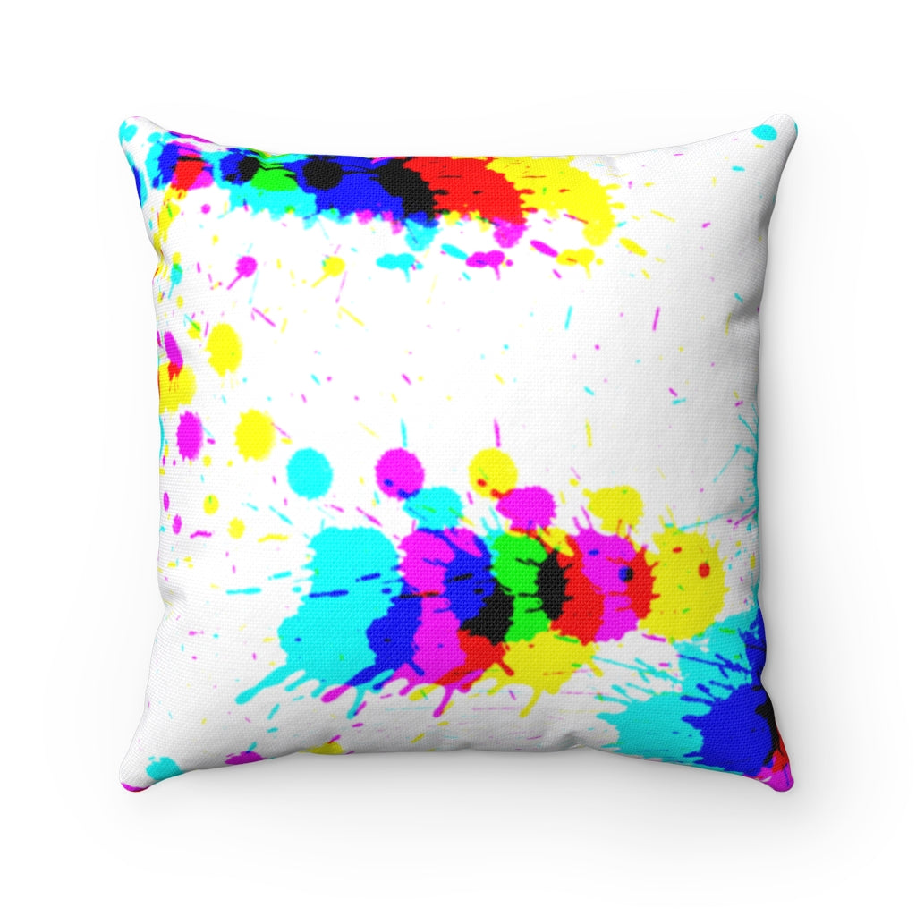 Glitched splattered paint square pillows