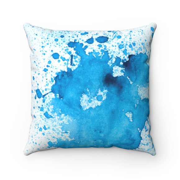 Splattered blue paint square pillows
