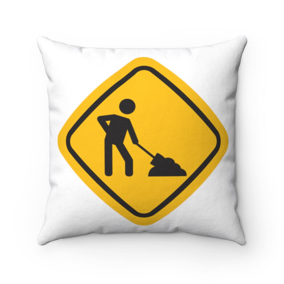 Caution work square pillows