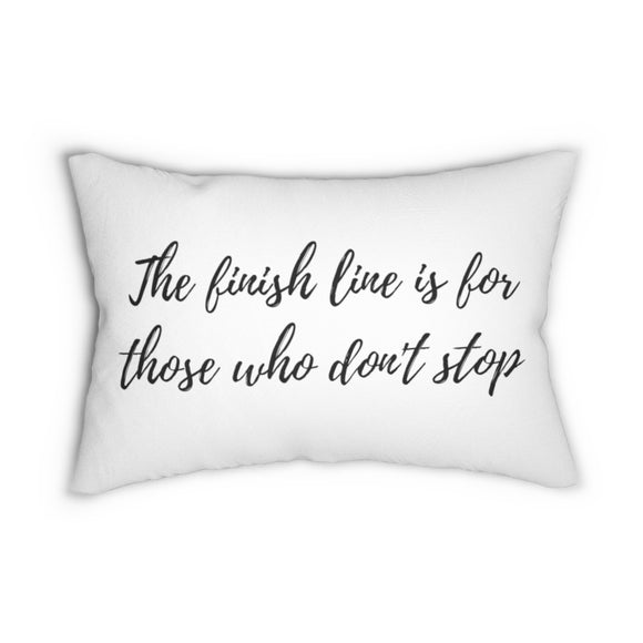 Quote, the finish line, lumbar pillows