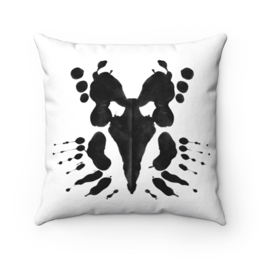 Inkblot mask spun square pillows