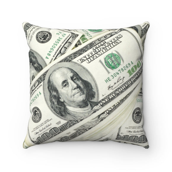 Money print square pillows
