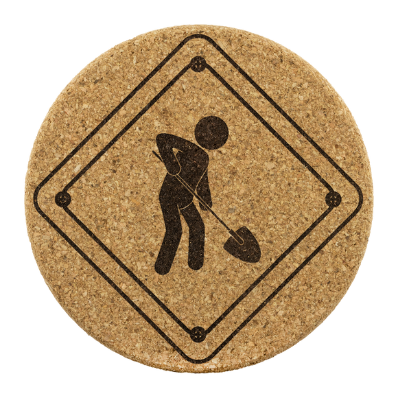 Caution work zone sign cork coasters