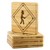 Caution gladiator sign bamboo coasters