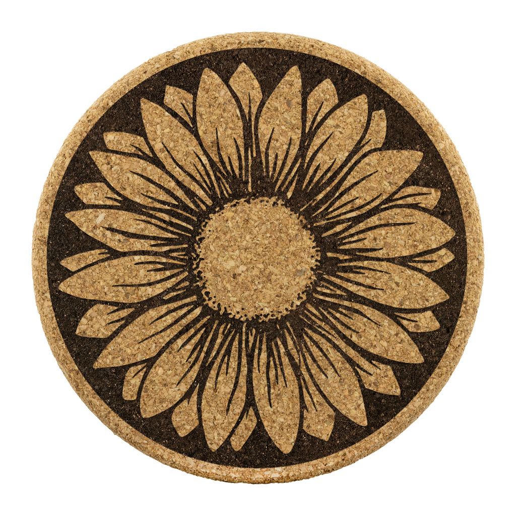 Sunflower cork coasters