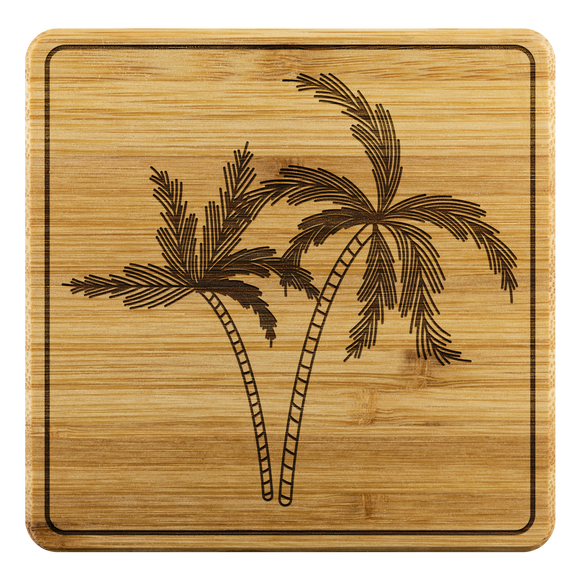 Palm print bamboo coasters