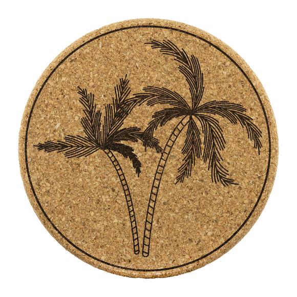 Palm print cork coasters