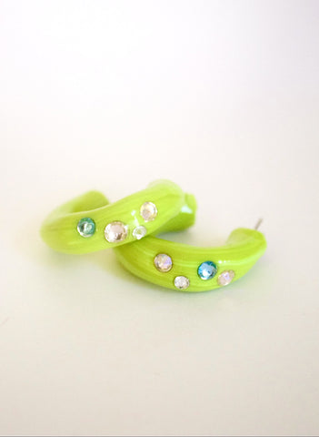 HOOP EARRINGS - CITRUS SWIRL/AQUA