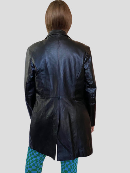 LEATHER BUTTON FRONT COAT