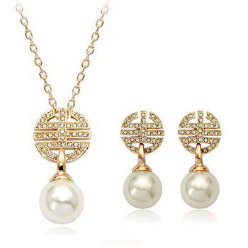 18K Rose Gold Plated Simulated Pearl With Austrian Crystal Stellux Jewelry Set
