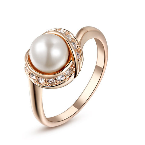 18K Rose Gold Plated With Austrian Crystal Stellux Ring