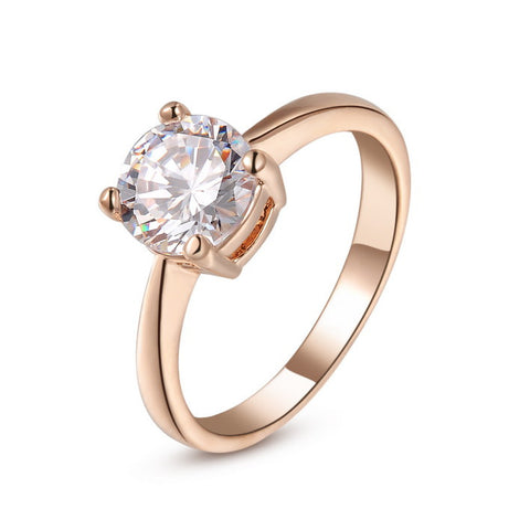 18K Rose Gold Plated With Austrian Crystal Stellux Wedding Ring