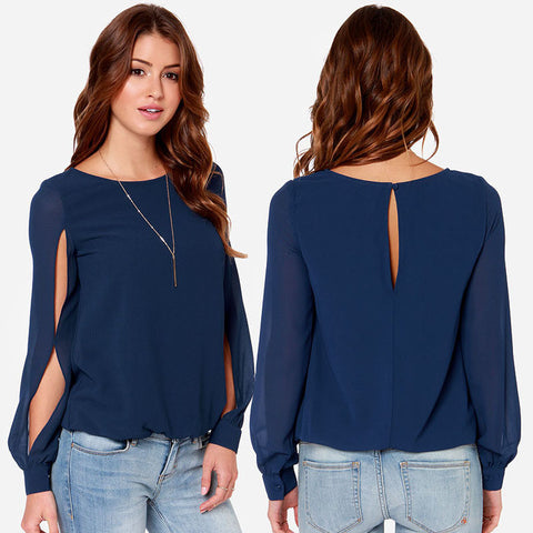 Solid O-Neck Collar Button Decorated Regular Split Full Sleeve Loose Blouses