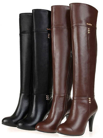 Solid Over-the-Knee Square High Heel Round Toe Motorcycle Boots