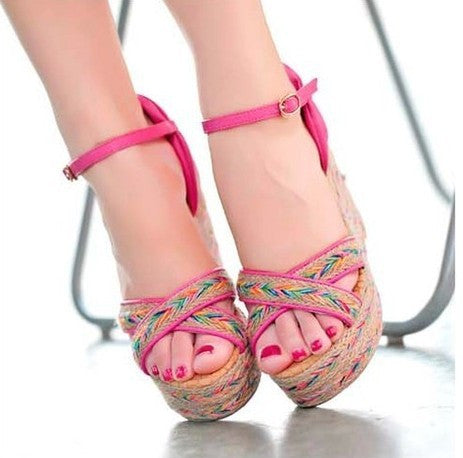 Elegant Checkered Ankle-Wrap Buckle Strap Casual Sandal - 3 Colors
