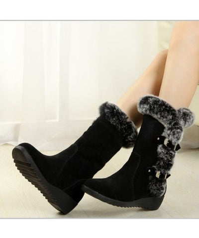 Elegant Wedges Mid-Calf Sweet Round Toe Snow Boot