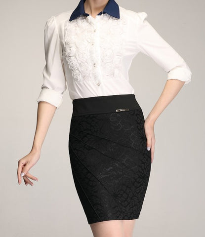 Solid Knee-Length Lace Decorated Formal Pencil Skirt