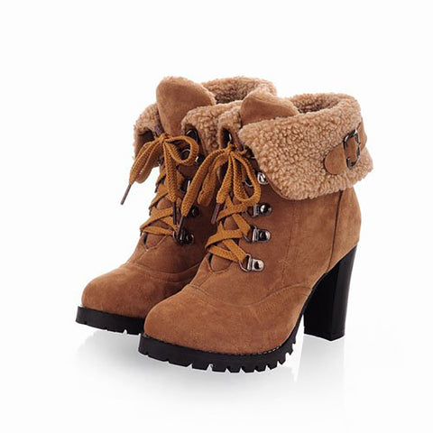 Nubuck Leather Ankle Boots High Heels Lace Up Snow Boots