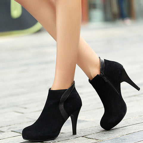 Elegant Ankle Zip Solid Round Toe Thin Heel Boots