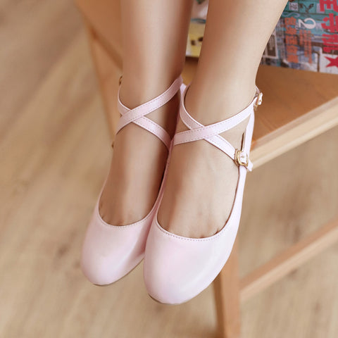 Solid Round Closed Toe Buckle Strap Flats