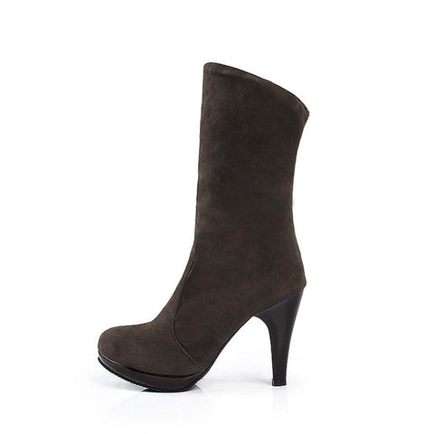 Solid Slip-On Mid-Calf Spike Heels Round Toe Motorcycle Boots