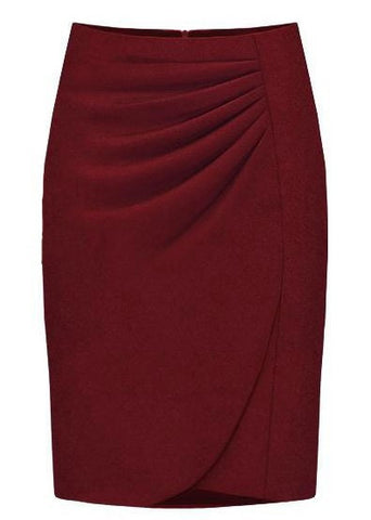 Elegant Solid Knee-Length Pencil Skirt - 2 Colors