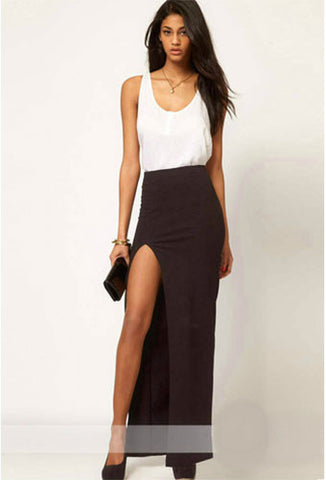 Solid Novelty Ankle-Length Pencil Skirt