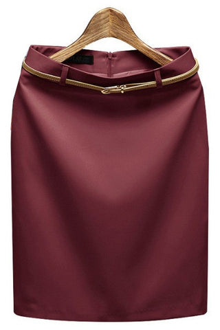 Solid Sashes Decorated Mid-Calf Tailored Pencil Skirt - 7 Colors