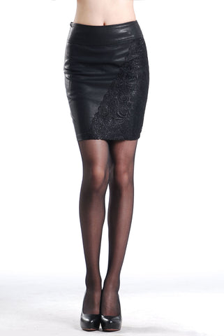 Solid Lace Decorated Pencil Short Mini Skirt