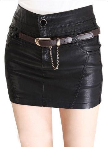 Sexy Solid Button Decorated Bud Short Mini Skirt
