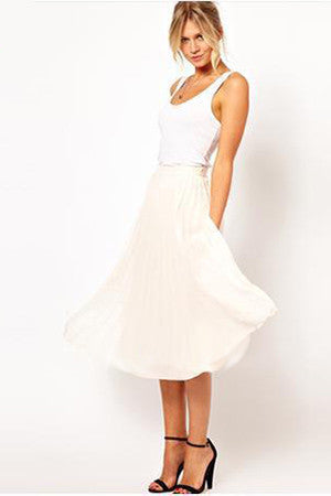 Solid Ruffles Decorated A-Line Regular Knee-Length Chiffon Skirts