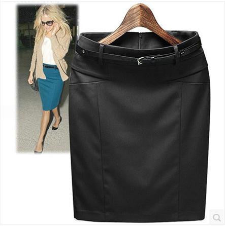 Solid Sashes Decorated Knee-Length Pencil Skirts - 5 Colors