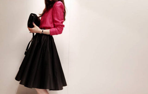 Solid Ruffles Decorated Pleated Mid-Calf A-Line Umbrella Skirt