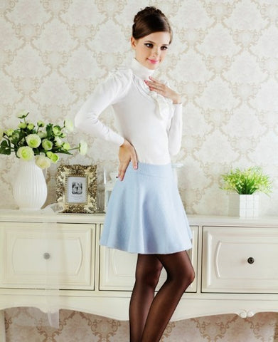 Elegant Solid A-Line Bow Decorated Formal Mini Skirt